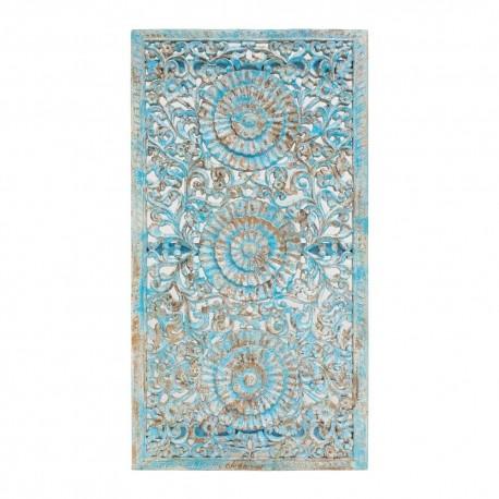Mandala rectangular de madera acabado celeste