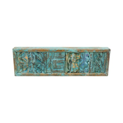 Percha de madera con plantillas acabado azul
