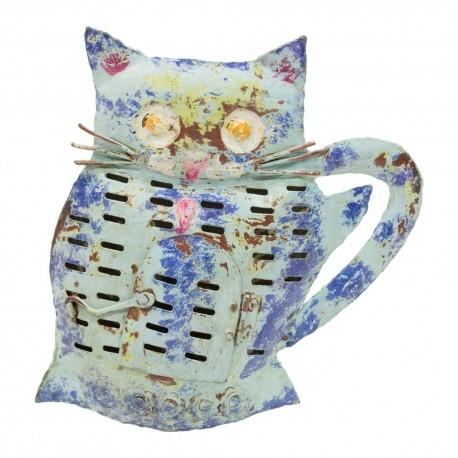 Candelabro gato de chapa acabado azul y marrón