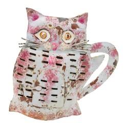 Candelabro gato de chapa rosa y morado