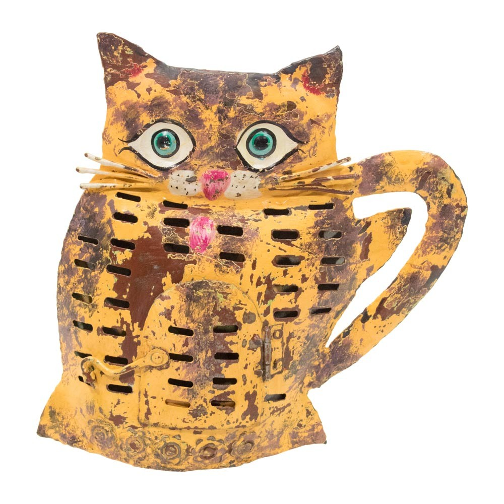 Candelabro gato de chapa naranja y marrón