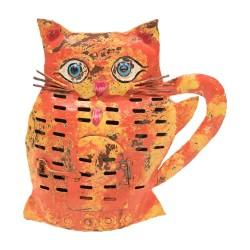 Candelabro gato acabado rojo y naranja
