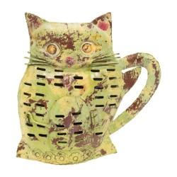 Candelabro gato de chapa verde y marrón