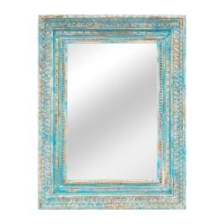 Espejo con marco de madera tallada acabado celeste