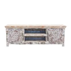 Mueble de televisión de madera con talla frontal