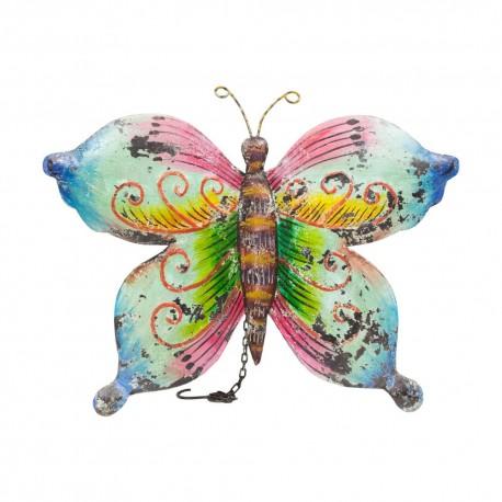 Mariposa de chapa rosa, verde y azul