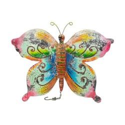Mariposa de chapa de colores con bordes rosas