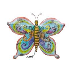 Mariposa de chapa celeste y amarillo