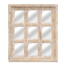 Espejo ventana de madera con acabado gris