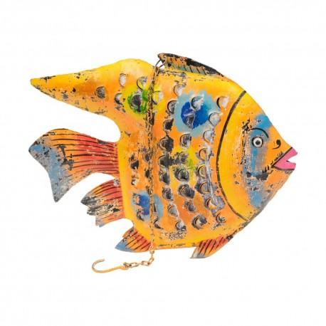 Candelabro pez chapa acabado naranja