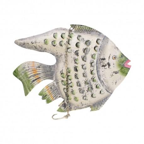 Candelabro pez chapa acabado gris y verde