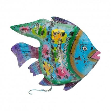 Candelabro pez de chapa acabado verde y azul