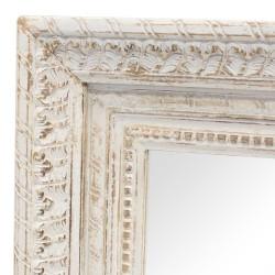 Espejo de madera con marco de madera tallado blanco