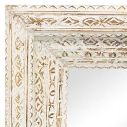 Espejo con marco de madera tallado blanco
