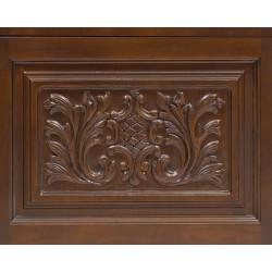 Frontal de madera con cuarterón tallado y cristalera
