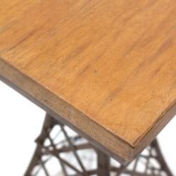 Mesa auxiliar Eiffel de madera y metal