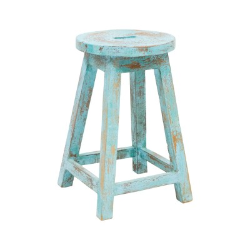 Taburete lechero madera acabado azul