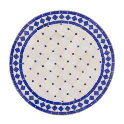 Mesa mosaico blanco-azul