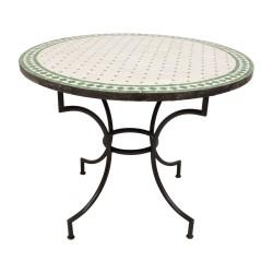 Mesa de mosaico blanco y verde