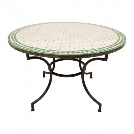 Mesa mosaico blanca y verde