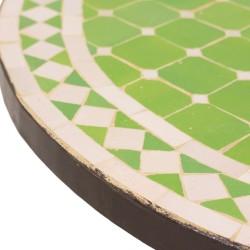 Mesa de mosaico verde manzana y blanco