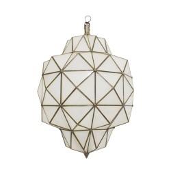 Farol geométrico de cristal blanco