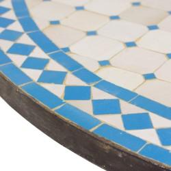 Mesa mosaico celeste y blanca
