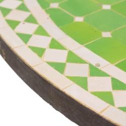 Mesa mosaico verde manzana y blanco