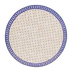Mesa mosaico azul y blanca