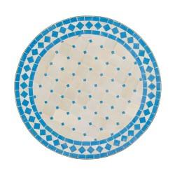 Mesa mosaico celeste y blanco