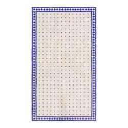 Mesa mosaico rectangular azul y blanca