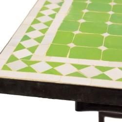 Mesa rectangular mosaico verde manzana y blanco