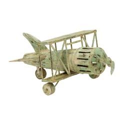 Avioneta vintage de metal verde