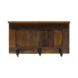 Percha de madera con tres ganchos de forja