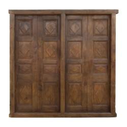 Puerta antigua de madera de teca de 4 hojas