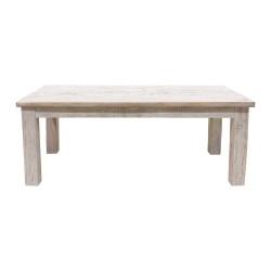 Mesa de comedor de teca acabado blanco