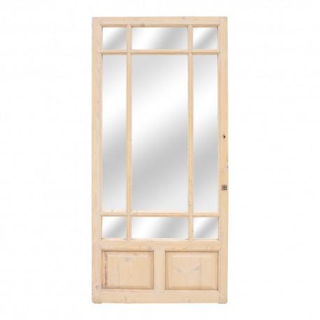 Espejo puerta antigua de madera acabado crema