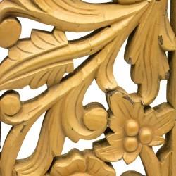 Friso de madera calada talla en flor dorado