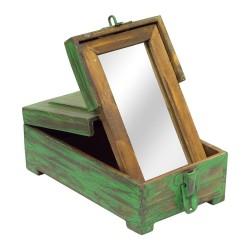 Caja barbero madera verde
