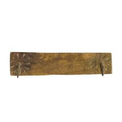 Percha de madera con dos ganchos de forja