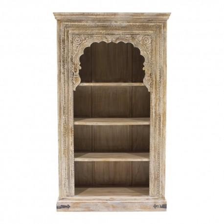 Librería de madera inspiración oriental gris