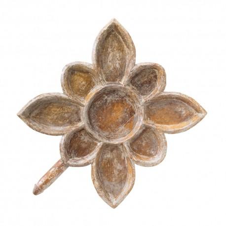 Bandeja forma flor madera gris