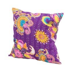 Funda cojín algodón flores colores