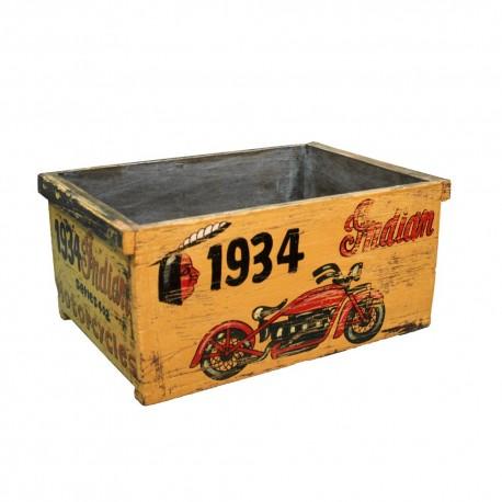 Caja de madera vintage dibujo moto
