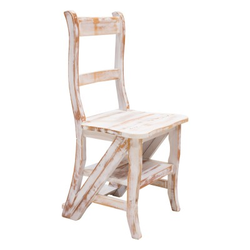 Silla escalera de madera blanca
