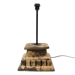 Lámpara sobremesa portavelas madera tallada