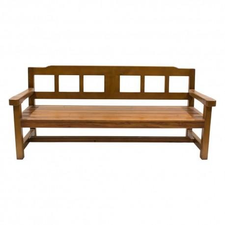 Banco de madera de teca con respaldo calado