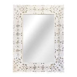 Espejo con marco de madera calada blanco