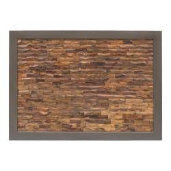 Cabecero de madera de teca recuperada y forja gris