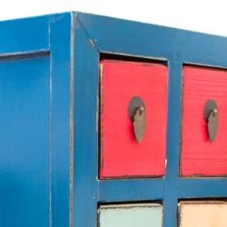 Sinfonier de madera acabado azul con cajones de colores